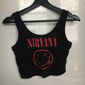 Nirvana Tank Crop Top Black Gray Pink
